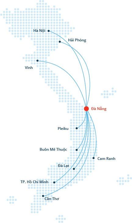 Mạng đường bay nội địa sân bay đà nẵng
