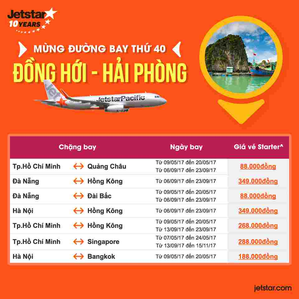 Jetstar pacific chính thức mở đường bay Đồng Hới – Hải Phòng:
